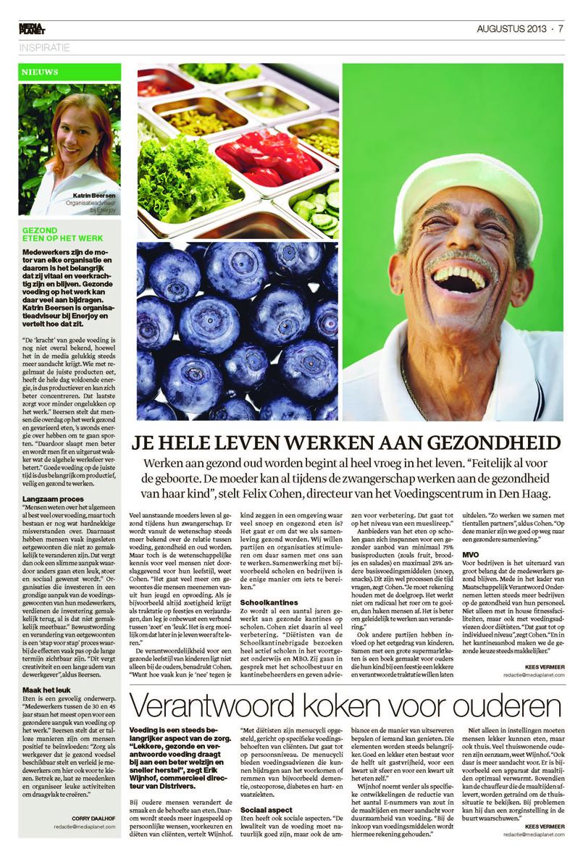 Gezond eten op het werk in bijlage Financieel Dagblad